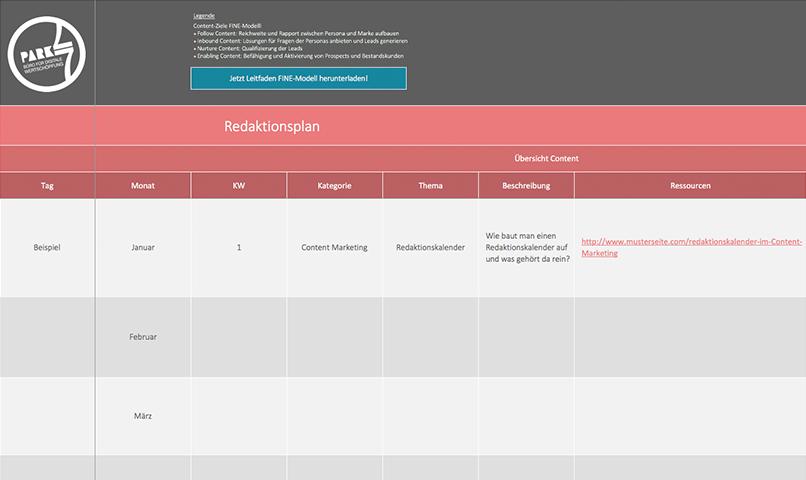 Content Marketing Redaktionskalender downloaden