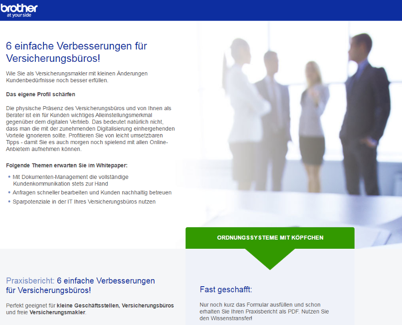 Conversion-Rate-Optimierung für Landing Pages, Best Practice: Brother